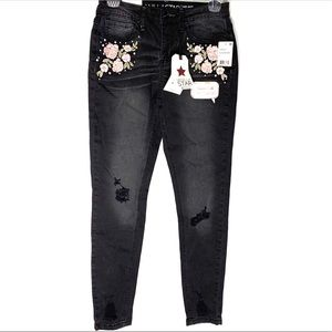 Vanilla Star Skinny Jeans Embroidered Mid Rise 7